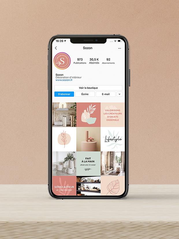 Sozon lifestyle boutique - types top - grille Instagram